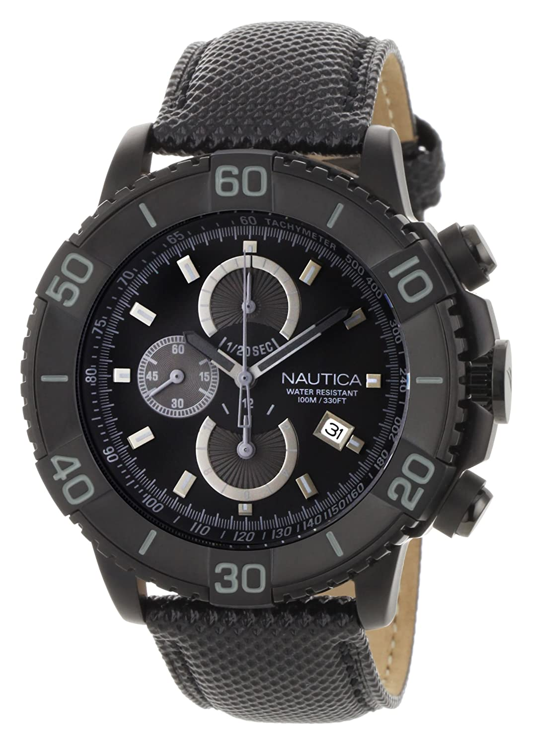 13dd4c9fa6b Amazon.com  Nautica Men s N20062G NST 500 Black Polyurethane and Black Dial  Watch  Nautica  Watches