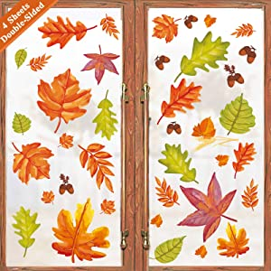 Ivenf Thanksgiving Decorations Window Clings Decor, Extra Large Autumn Acorn Fall Leaves Decal, Kids School Home Office Party Supplies Gifts, 4 Sheets 41 pcs