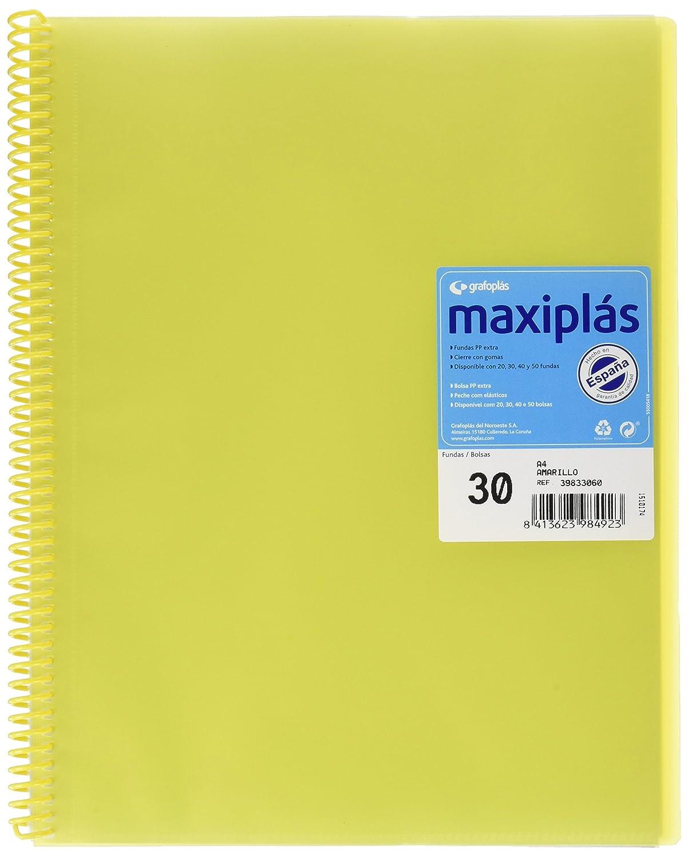 Grafopl/ás 39832051-Carpeta espiral con 20 fundas A4 con sobre Color rojo Modelo Maxipl/ás