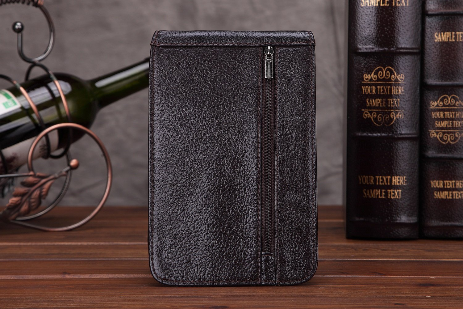 Color : Brown, Size : L XINXI-MAO Cozy Vintage Leather Wallet First Layer of Oil Wax Mens Pockets Wear A Belt Phone Bag Male Outdoor Mountaineering Parcel Backpack