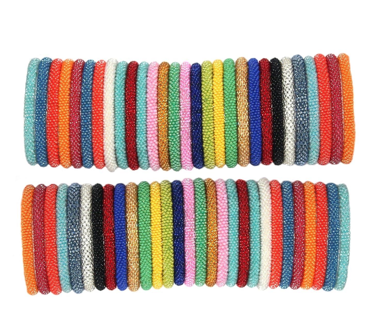 Random mix of Solid colors Nepal bracelets Roll On Bracelet (SET OF 12) goldenlines 12SOLIDS