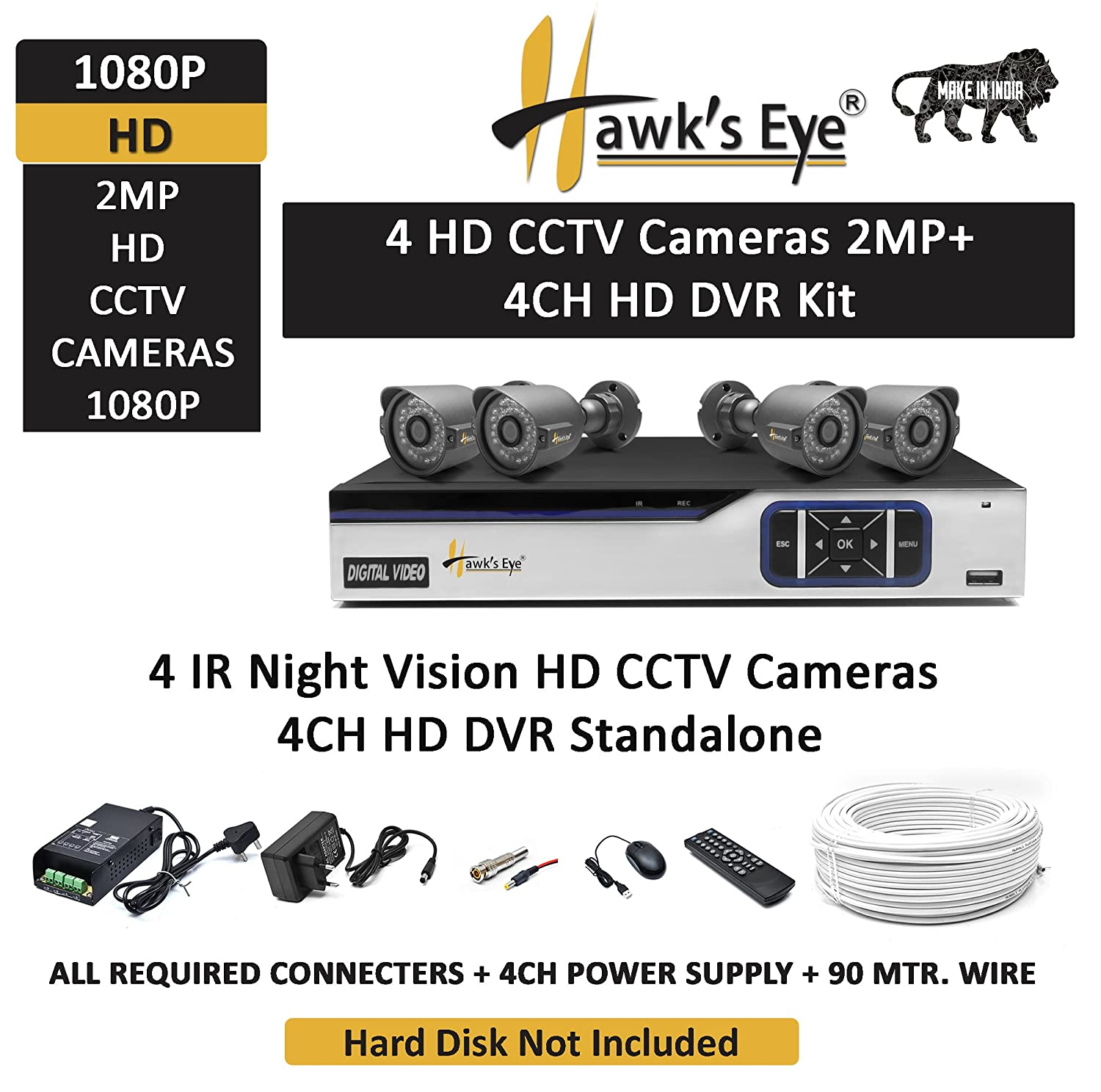 Buy Hawks Eye Hd 2 Mp 4 Cctv Bullet Cameras Night Vision With Dvr Standalone Channel Kit Online At Low Price In India Camera Reviews