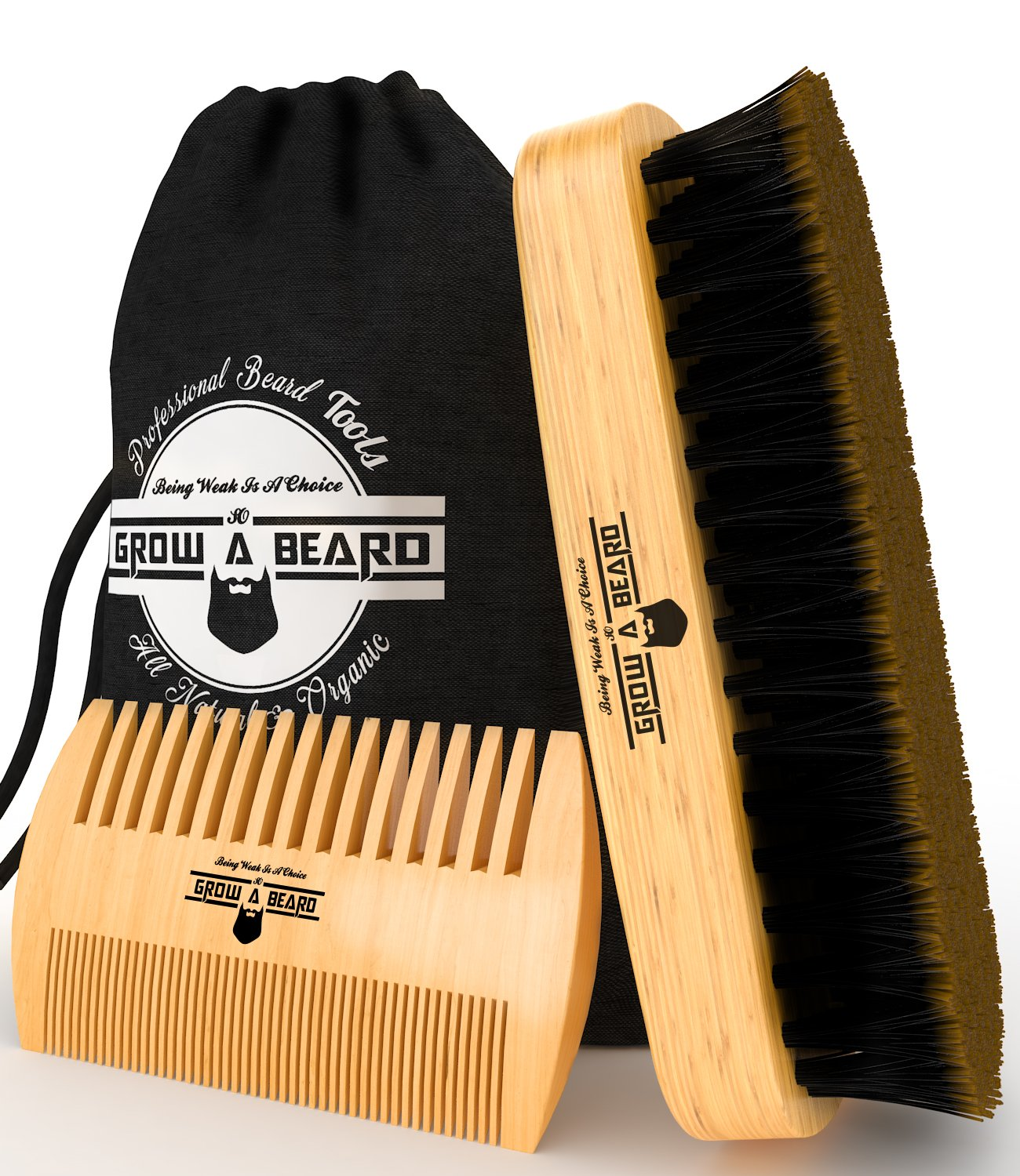 Beard Brush & Comb Set for Men Care - Gift Box & Friendly Bag - Best Bamboo Grooming Kit for Home & Travel - Great for Dry or Wet Beards - Distributes Balm for Growth & Styling - Adds Shine & Softness by Grow A Beard (Image #2)