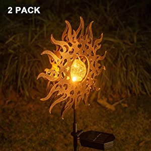mopha Solar Lights Outdoor Garden,Waterproof Metal Sun Decorative Stakes for Walkway,Yard,Lawn,Patio …