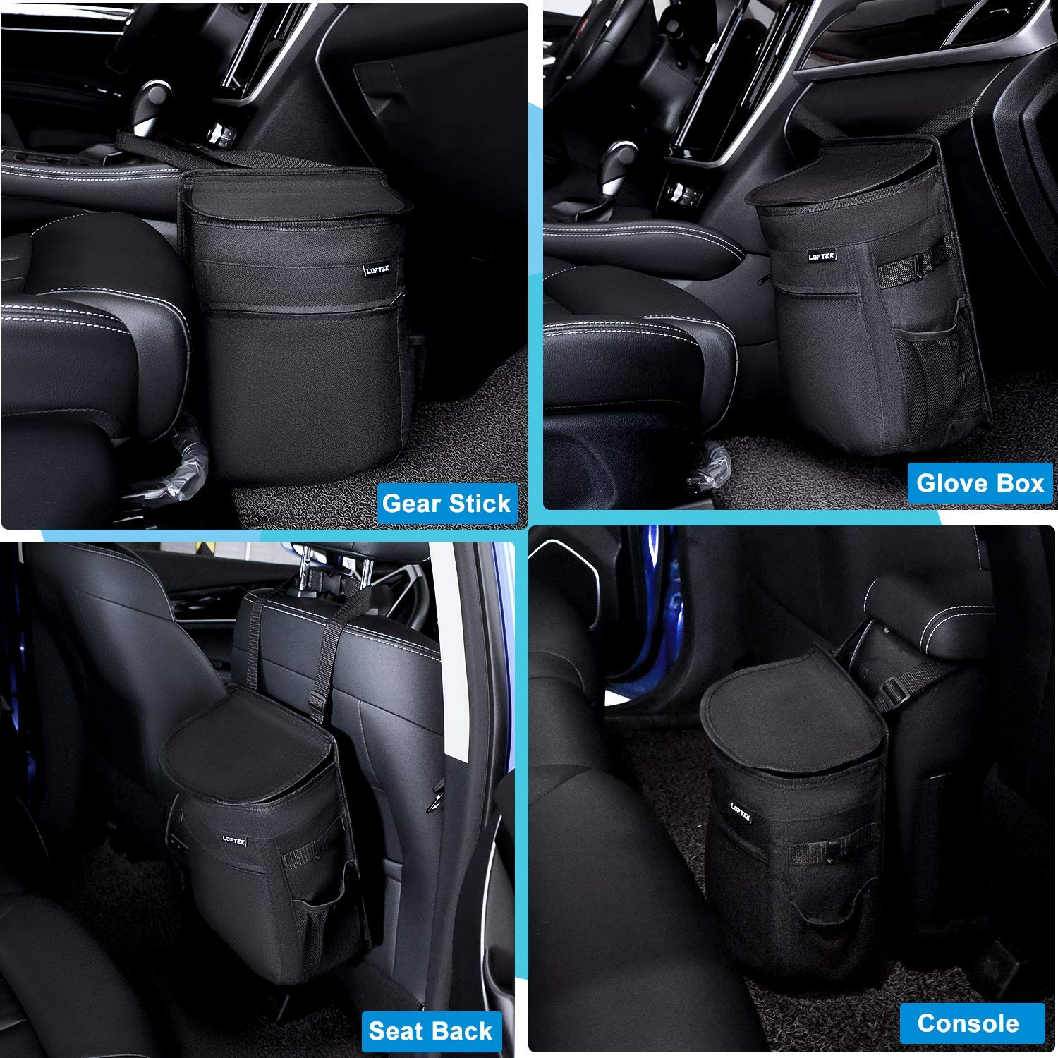 LOFTEK Large Car Trash Can with Lid and Storage Pockets Trash Can for Car Front Seat Leak-Proof /& Waterproof Black