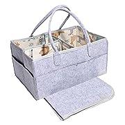 Baby Diaper Caddy Organizer Blue   Nursery Diaper Tote Bag   Portable Car Travel Organizer   Diaper Storage Bin   Baby Shower Gift Basket   Baby Essentials