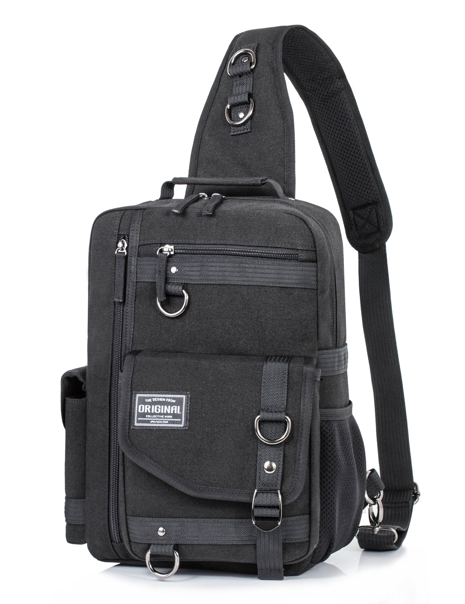 Messenger Bag for Men, Cross Body Shoulder Sling Bag Travel Outdoor Gym Backpack Black 1