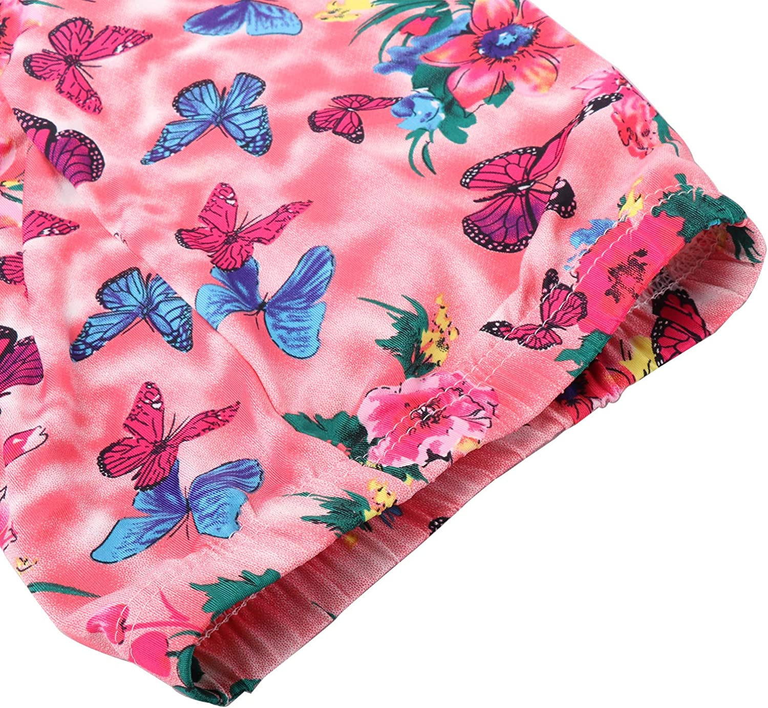 Biofieay Girls Stretch Pants Floral Pattern Leggings Full Length Tights Kids Trousers Age 2-13