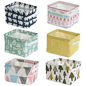 Abgream Foldable Storage Basket - Set of 6 Small Cotton Linen Containers Organizers with Handle for Home Decor or Storing Toys, Keys, Sundries, Little Crafts. (Style B)