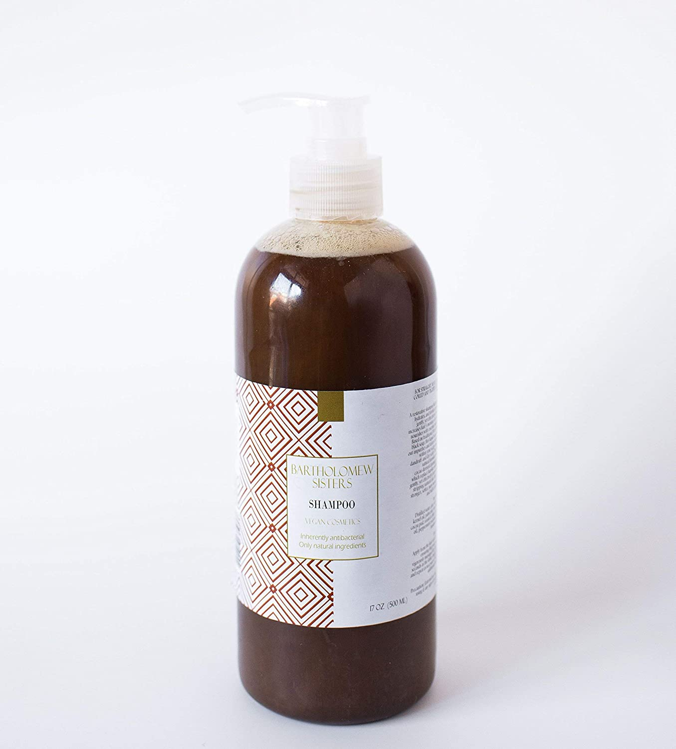 Handmade Natural Vegan Shampoo - Black Soap with Bamboo Extract, Coffee and Peppermint Essential Oil, 16 oz