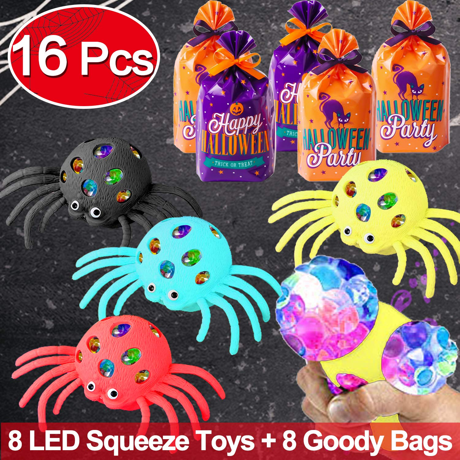 GBD Light Up Spider Mesh Squeeze Novelty Toys,Halloween Party Game Toys for Kids,8 Pack Led Stress Relief Ball Toy Scary Black Spiders Glow in The Dark Party Favors Halloween Trick or Treat Goody Bags by GBD