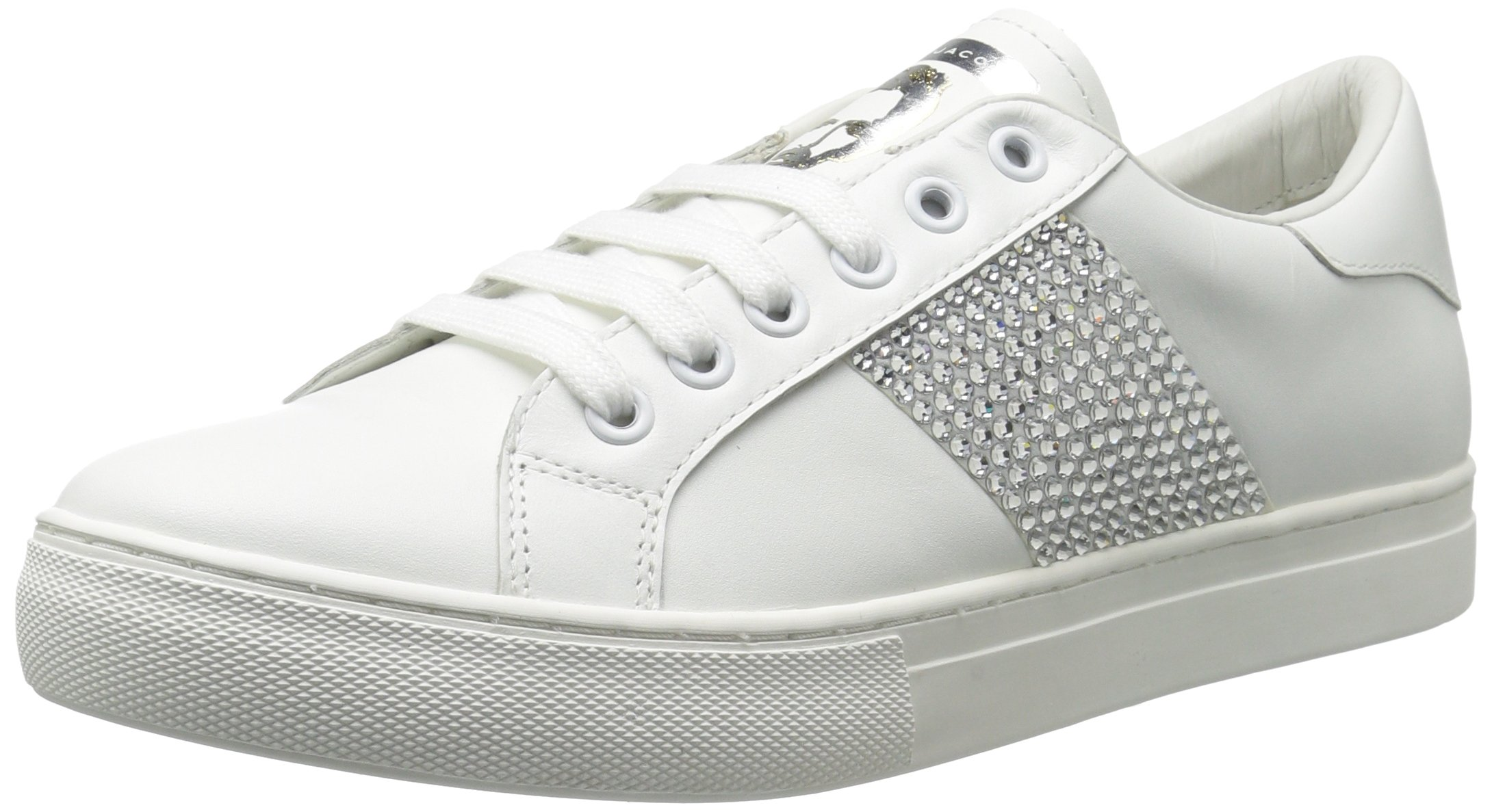 Marc Jacobs Women's Empire Strass Low Top Sneaker, White/Silver, 37 M EU (7 US)