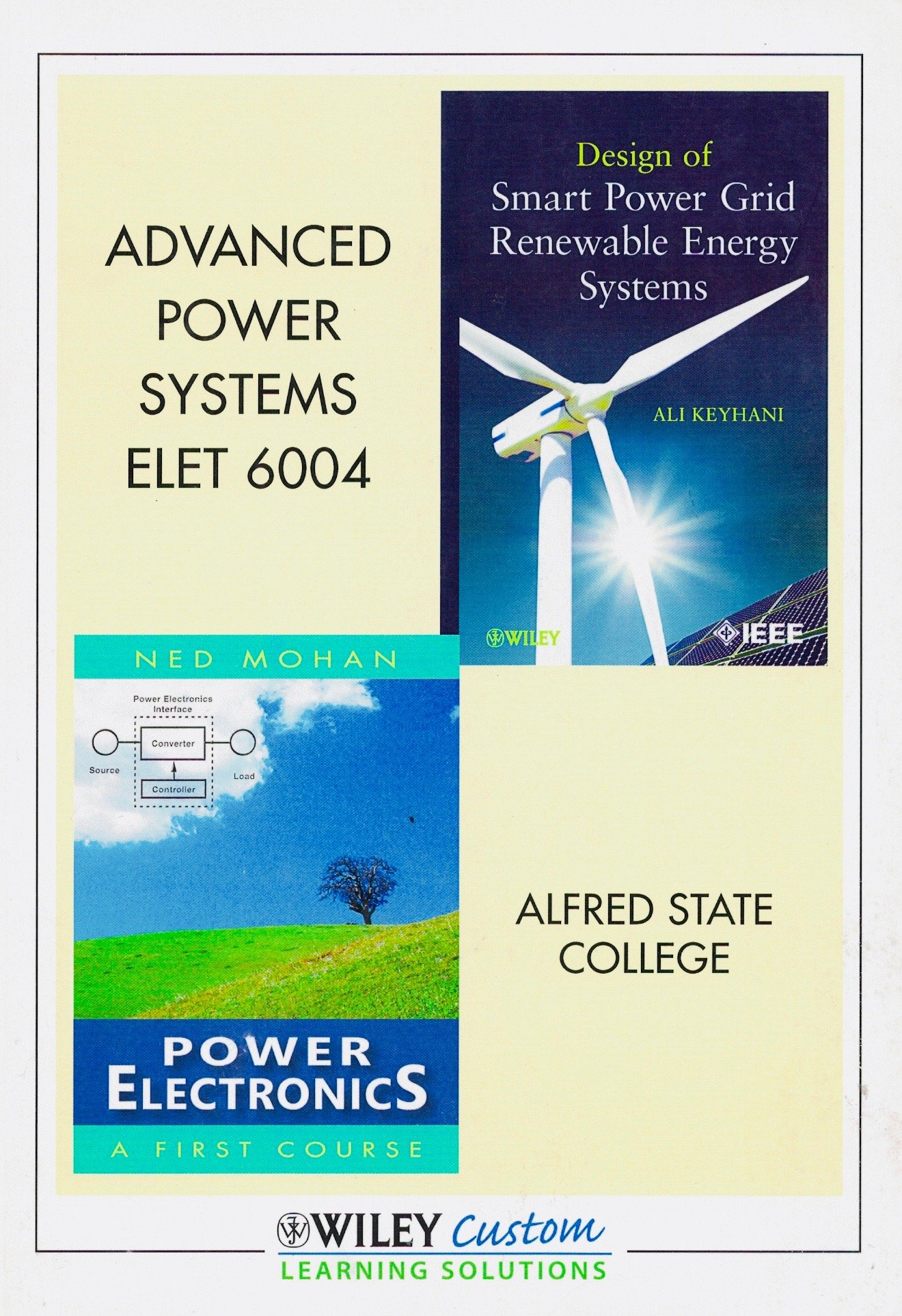 Advanced Power Systems Elet 6004 Alfred State College Custom Edition Design Of Smart Power Grid Renewable Energy Systems Power Electronics A First Course Ali Keyhani Ned Mohan 9781118335796 Amazon Com Books