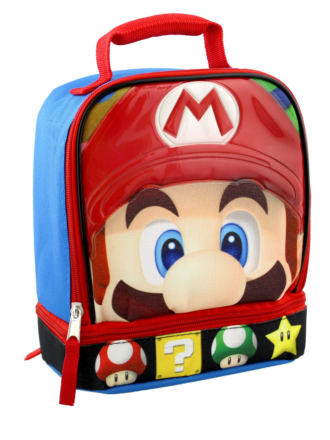 Super Mario Dual Compartment Soft Lunch Box (Blue/Red)