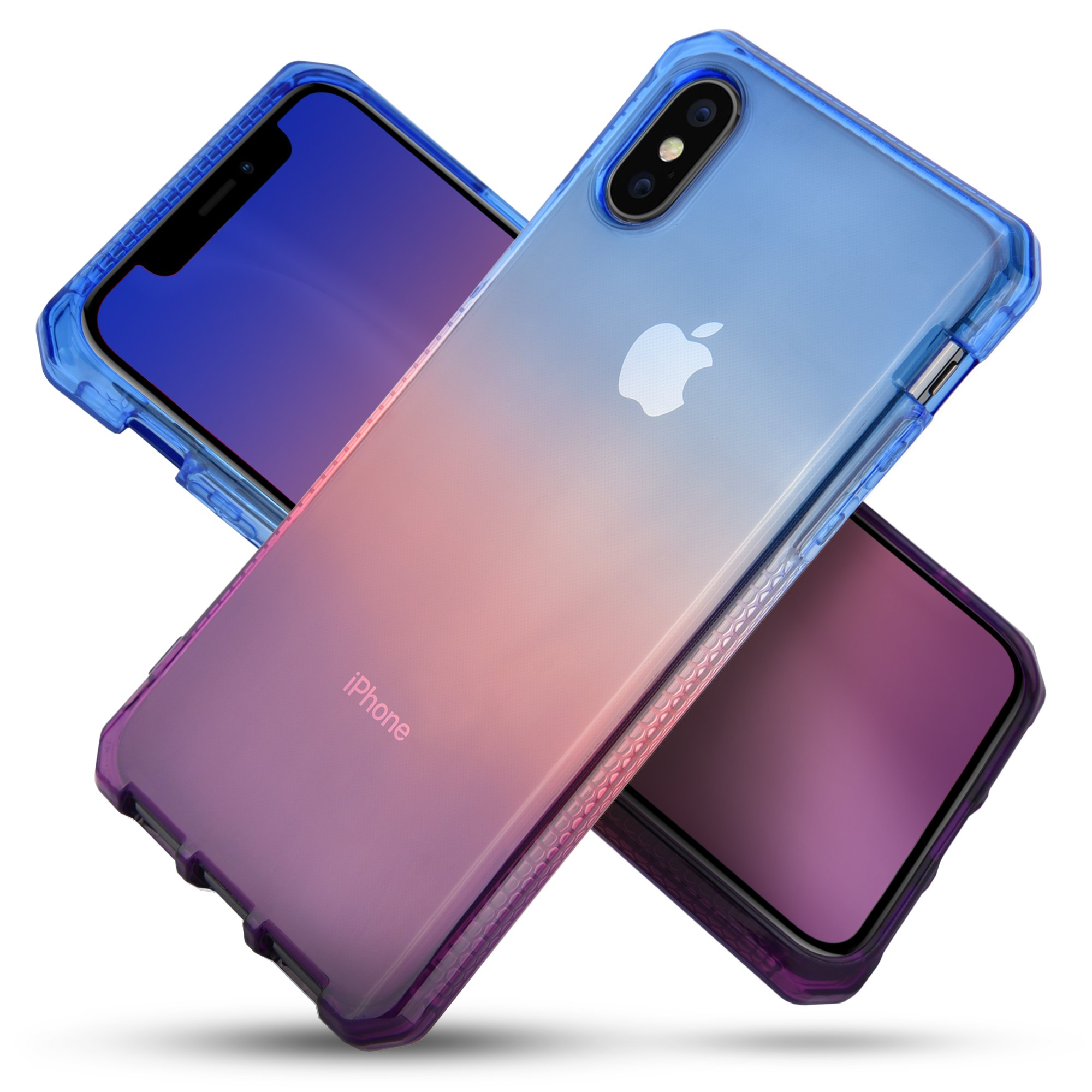 Celljoy Case compatible with iPhone X [[Sunset Gradient TPU Armor]] - High Impact Bumper - Transparent - Colorful - Flexible - Extreme Drop Protection - Premium - Slim (Blue/Pink/Purple)