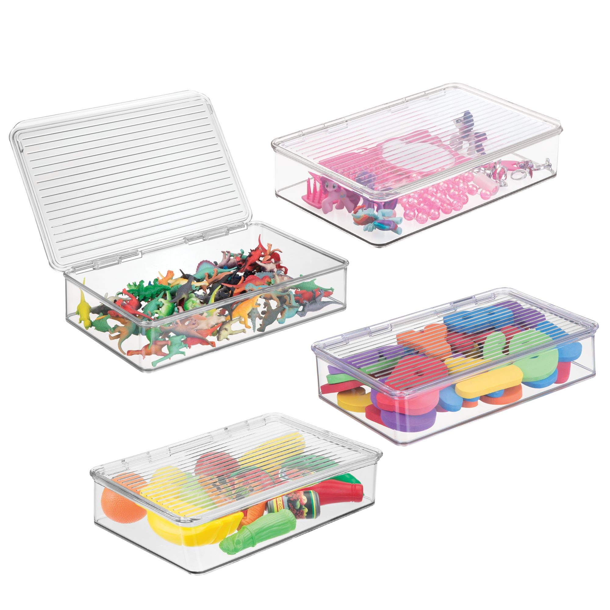 mDesign Slim Stackable Toy Storage Bin with Hinged Lid - Playroom Plastic Organizer for Kid/Child Cars, Barbie Dolls, Baby Doll Clothes, Puzzles, Army Men, Building Blocks - BPA free, Pack of 4, Clear