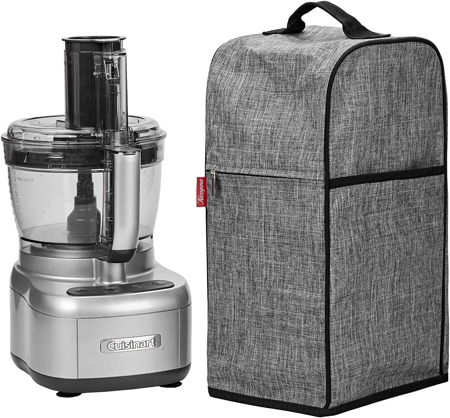 NICOGENA Food Processor Dust Cover with Accessory Pockets Compatible with Cuisinart Custom 8-13 Cup, Grey (Dust Cover Only)