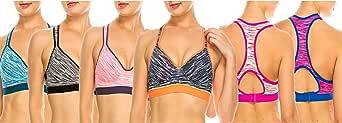 MoDDeals Woman's Racerback Sports Bra & Activewear Boy Short Set Assorted Color 6 Pack