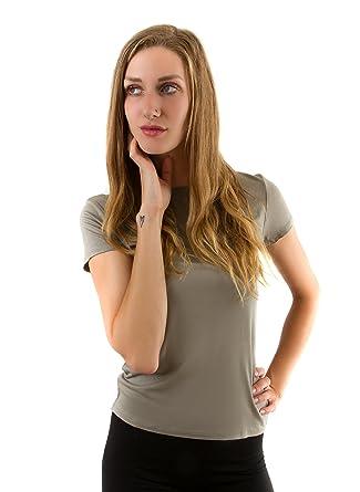 Women s Double Zero Solid Color Short Sleeve Basic Crew Neck T Shirt ... de753c43d
