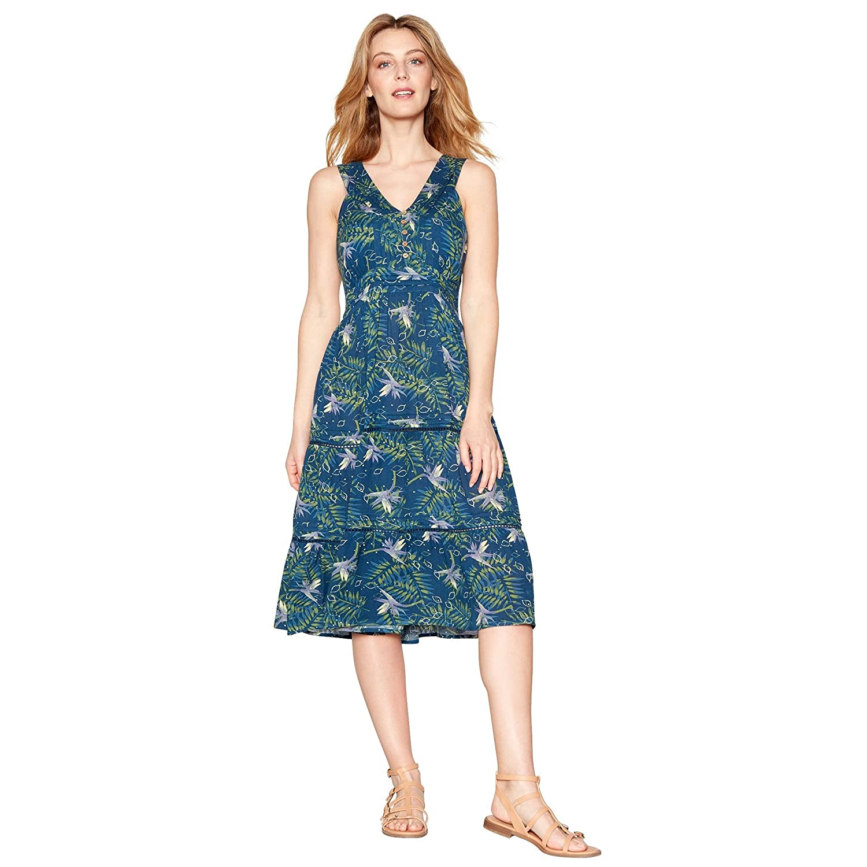 Debenhams Mantaray Womens Navy Floral Print V-Neck Midi Dress ...