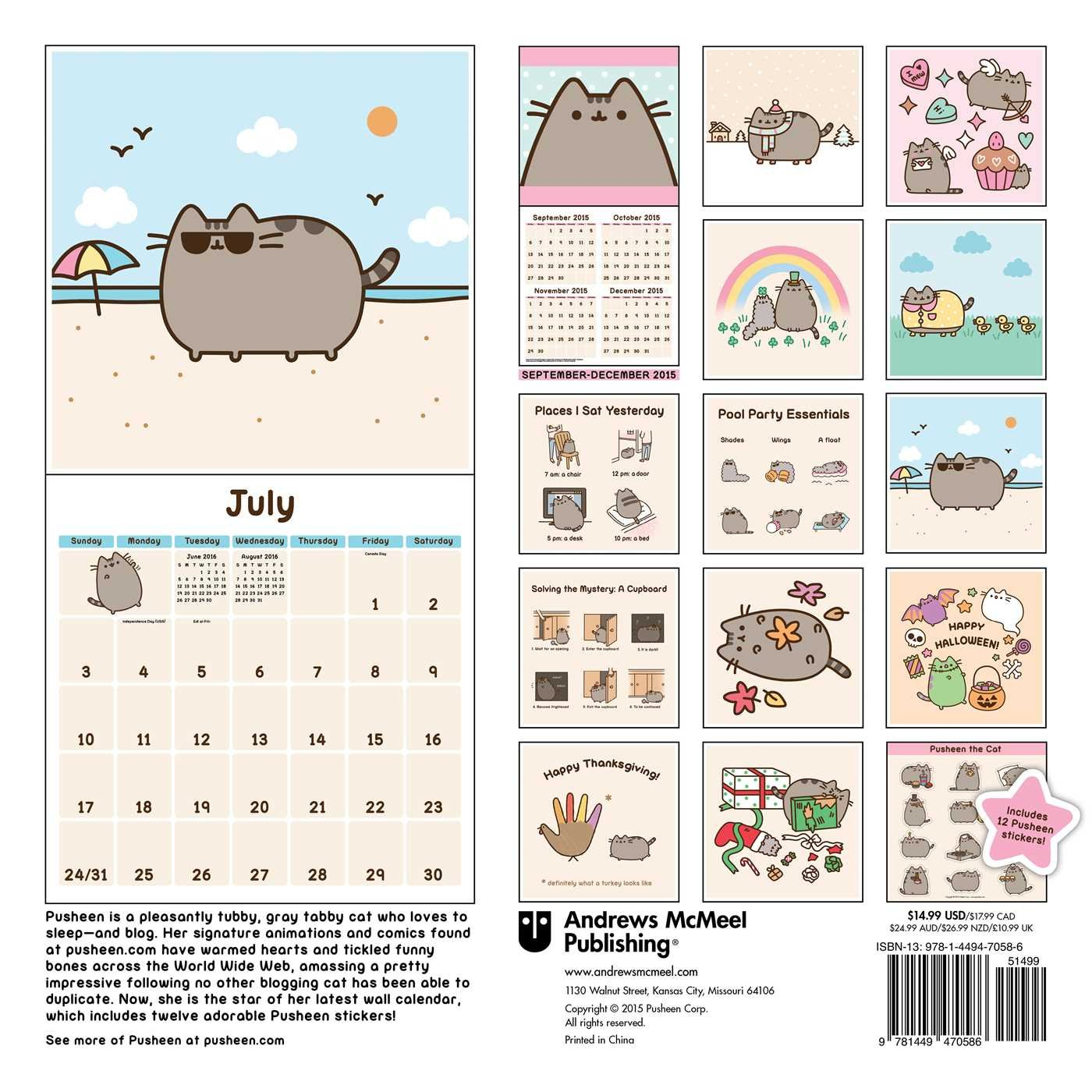 Pusheen the Cat 2016 Wall Calendar: Claire Belton ...