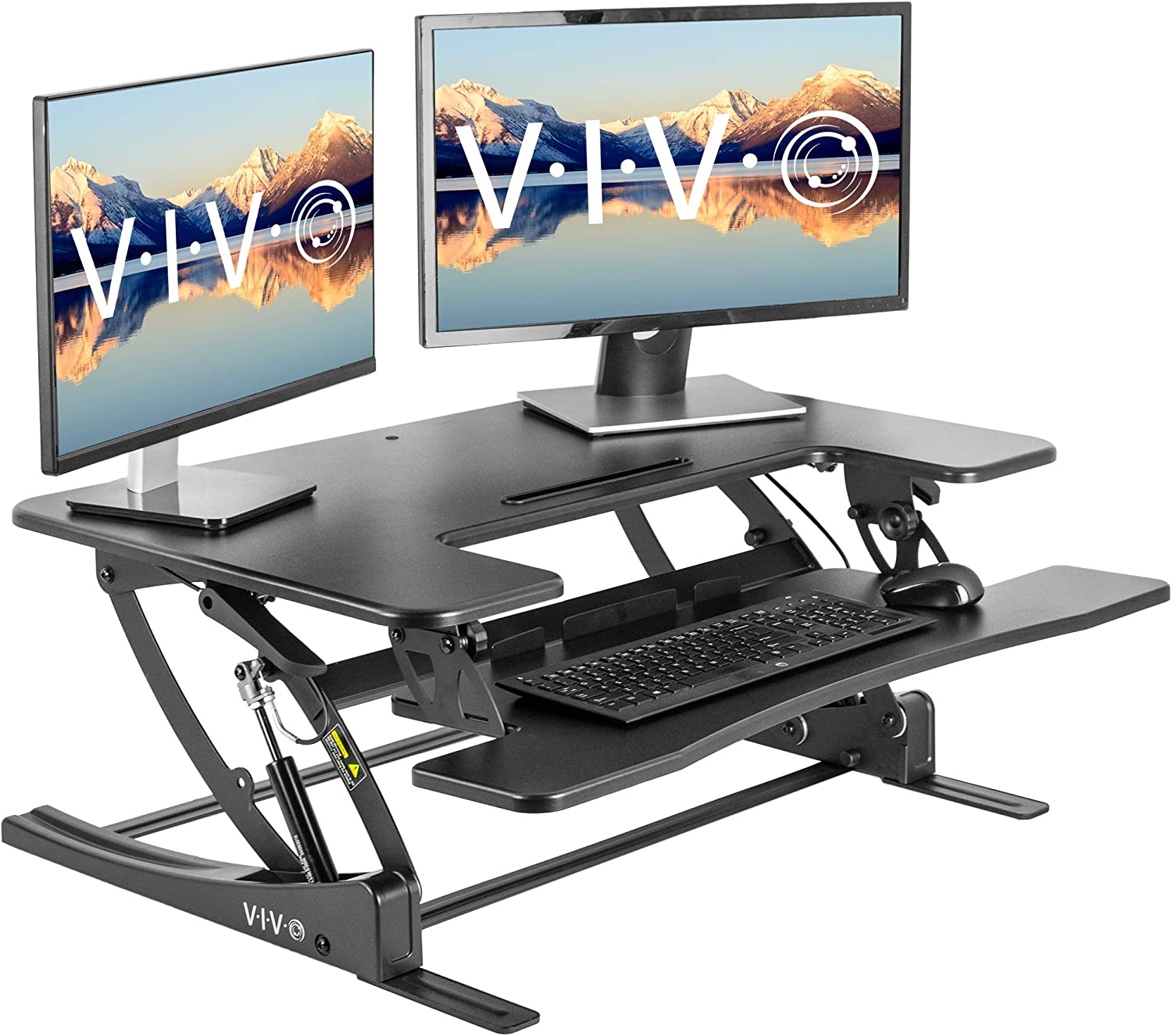 VIVO Black Height Adjustable 36 inch Stand Up Desk Converter Workstation | Quick Sit to Stand Tabletop Monitor Riser with Extra Large Keyboard Tray (DESK-V000V2)