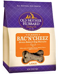 Old Mother Hubbard Classic Crunchy Natural Dog Treats, Bac'N'Cheez Large Biscuits, 3.3-Ounce Bag