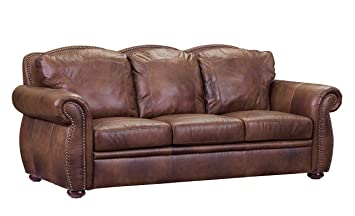 Amazon.com: Oliver Pierce OP0004 Casey Top Leather Sofa ...