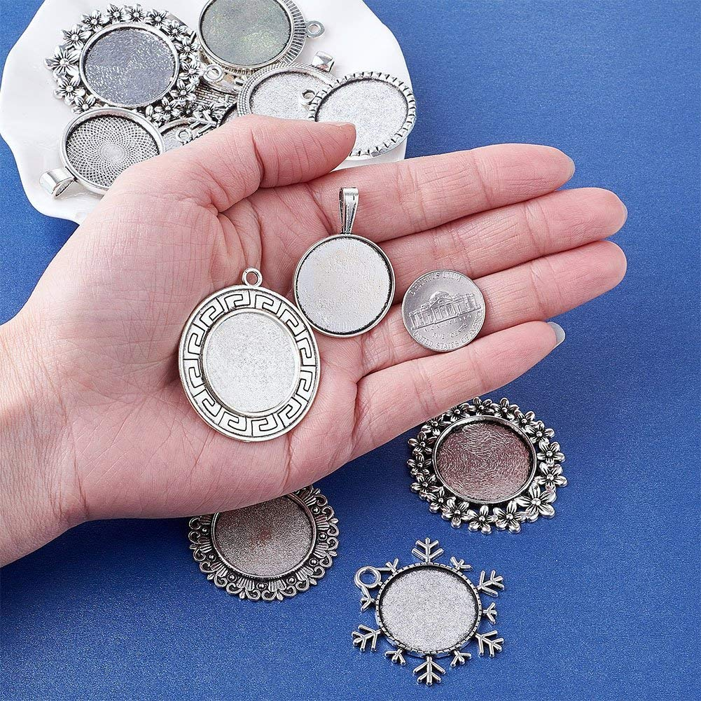 Kissitty 10pcs Transparent Glass Dome Tiles Clear Cameo Cabochons with 10pcs Antique Silver /& Antique Bronze Rectangle Blank Pendant Bezel Tray Settings for Photo Pendant Craft Jewelry Making