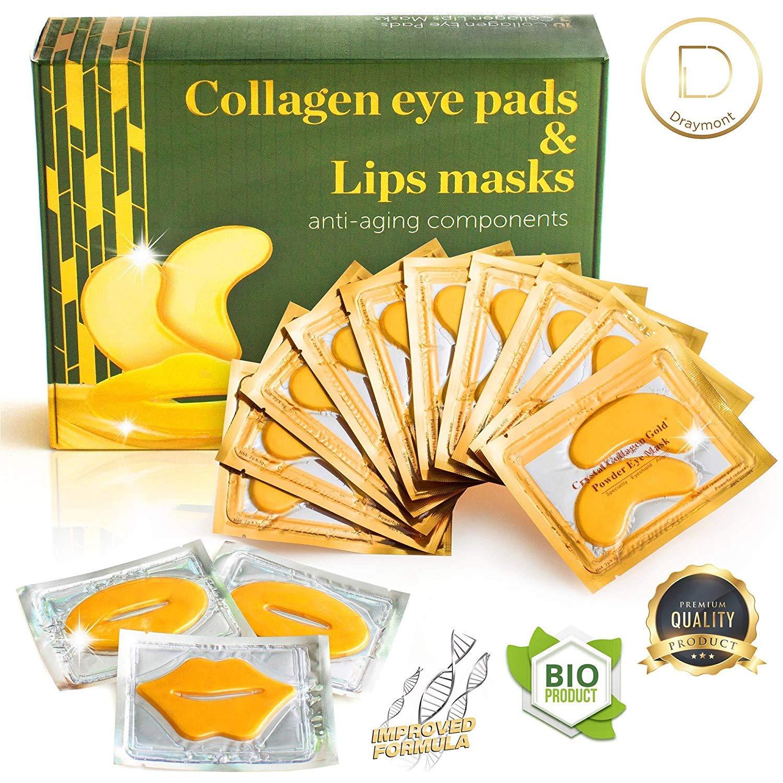 Eye Mask - Lip Mask - Eye Pads - Dry Eye Mask - Gel Eye Mask - Eye Gel Pads - 10 Pairs Gel Eye Pads + 3 Collagen Lips Mask - 24K Gold Under Eye Mask - for Dark Circles Puffy Eyes Wrinkles and Dry Lips by Draymont