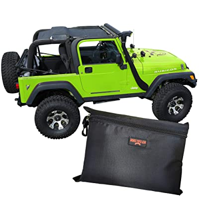 BADASS MOTO Jeep Wrangler Accessories TJ Mesh Sunshade Full Top Cover. Sun Shade Keeps You Cool. Reduces Wind & Noise. Free Stuff Bag. Easy Install. Great Looking Jeep Lovers Gifts for Men & Women: Automotive