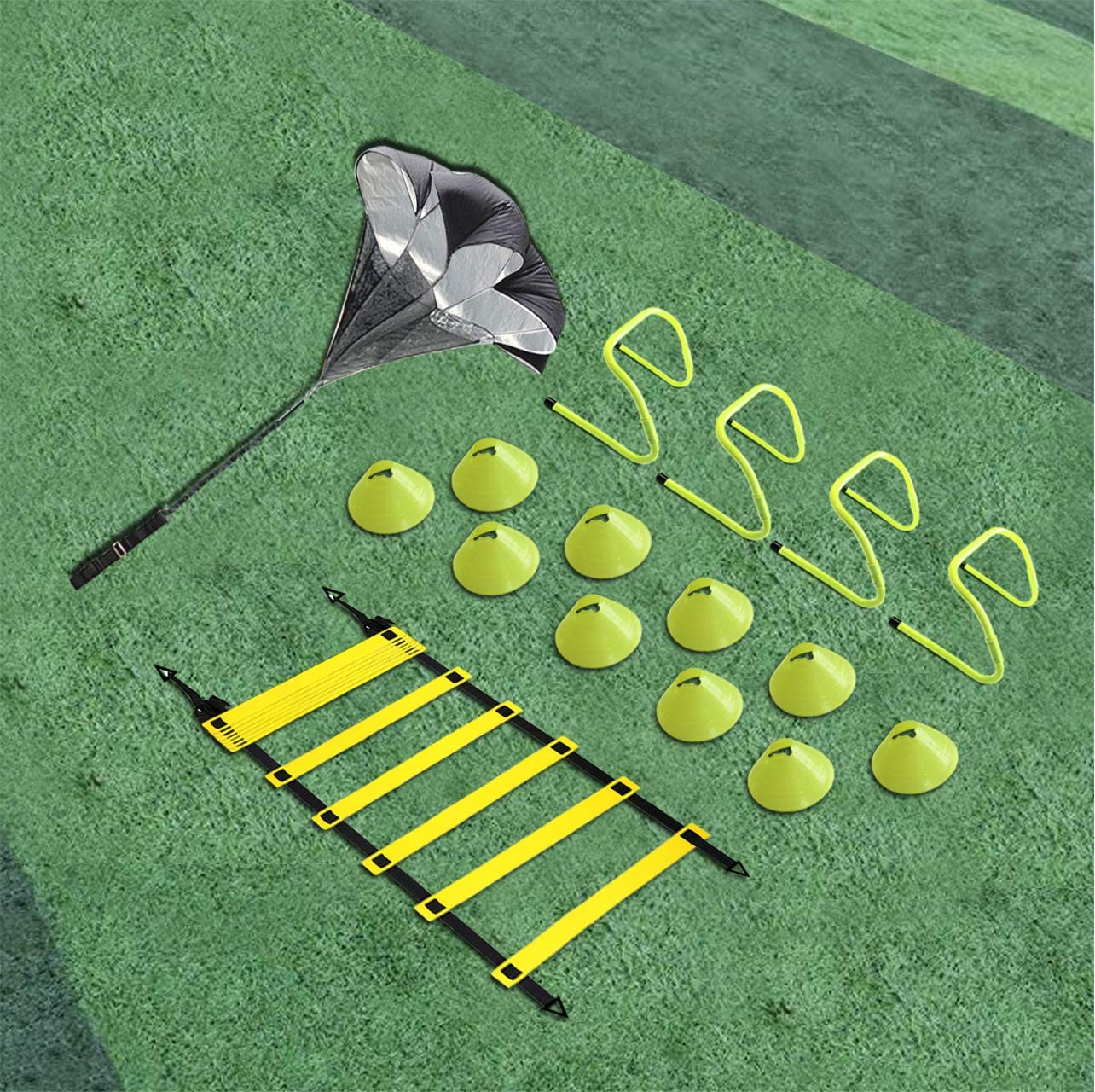 EAZY2HD Speed Agility Training Set- Agility Ladder,12 Cones, 4 Adjustable Hurdles,Parachute Exercise Workout Equipment Boost Fitness Increase Quick Footwork for Soccer,Football,Track Field Train