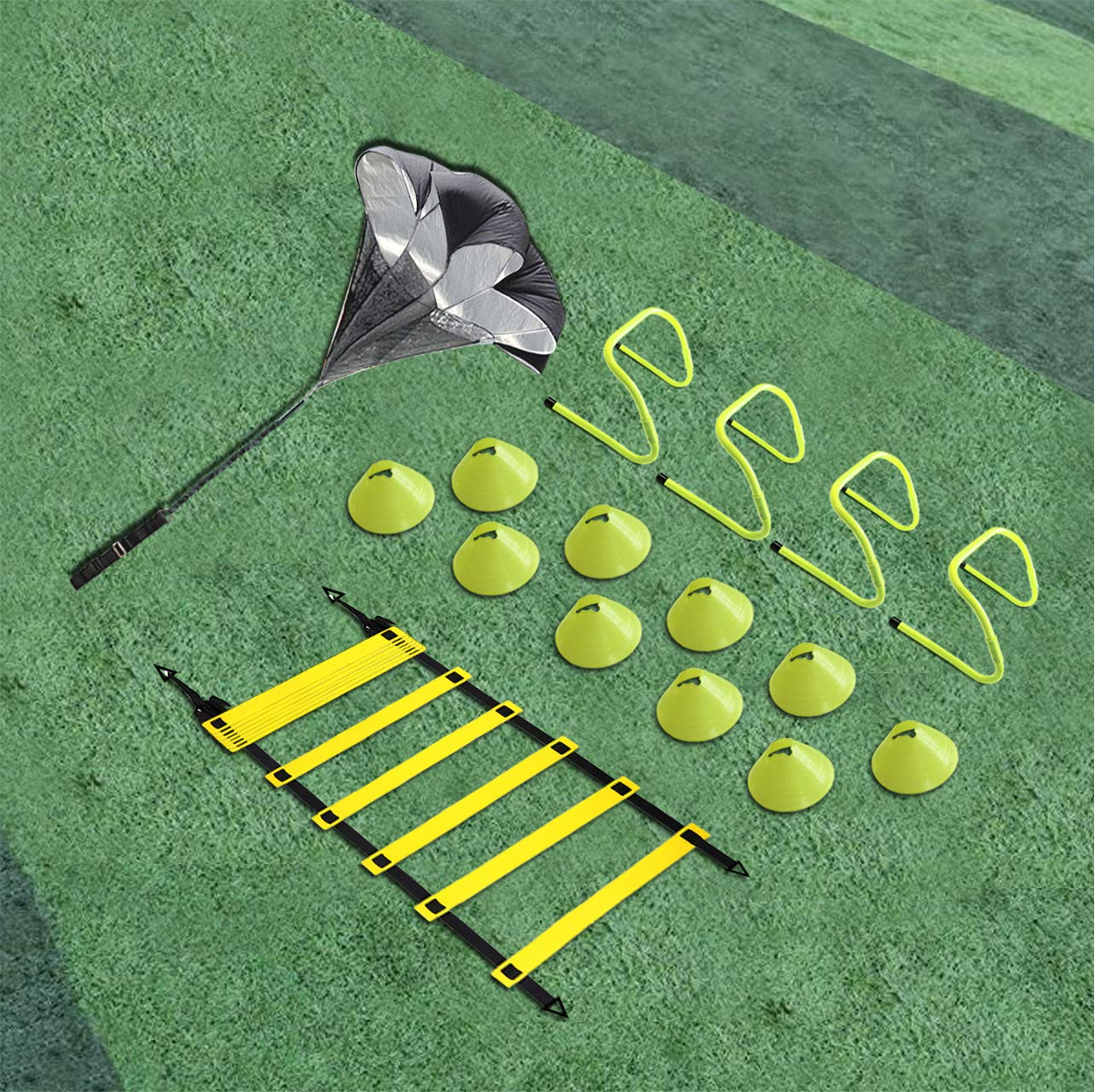 Eazy2hD Speed Agility Training Set- Agility Ladder,12 Cones, 4 Adjustable Hurdles,Parachute, Exercise Workout Equipment…