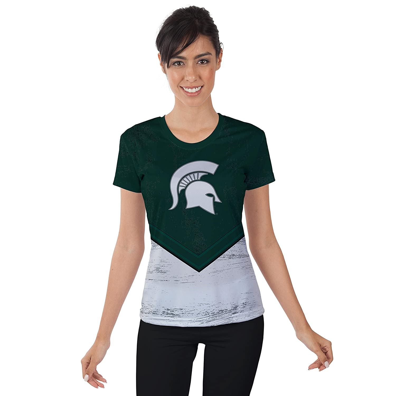 Michigan State University Spartans Womens Short Sleeve Shirt Trailblazer Design (Small)