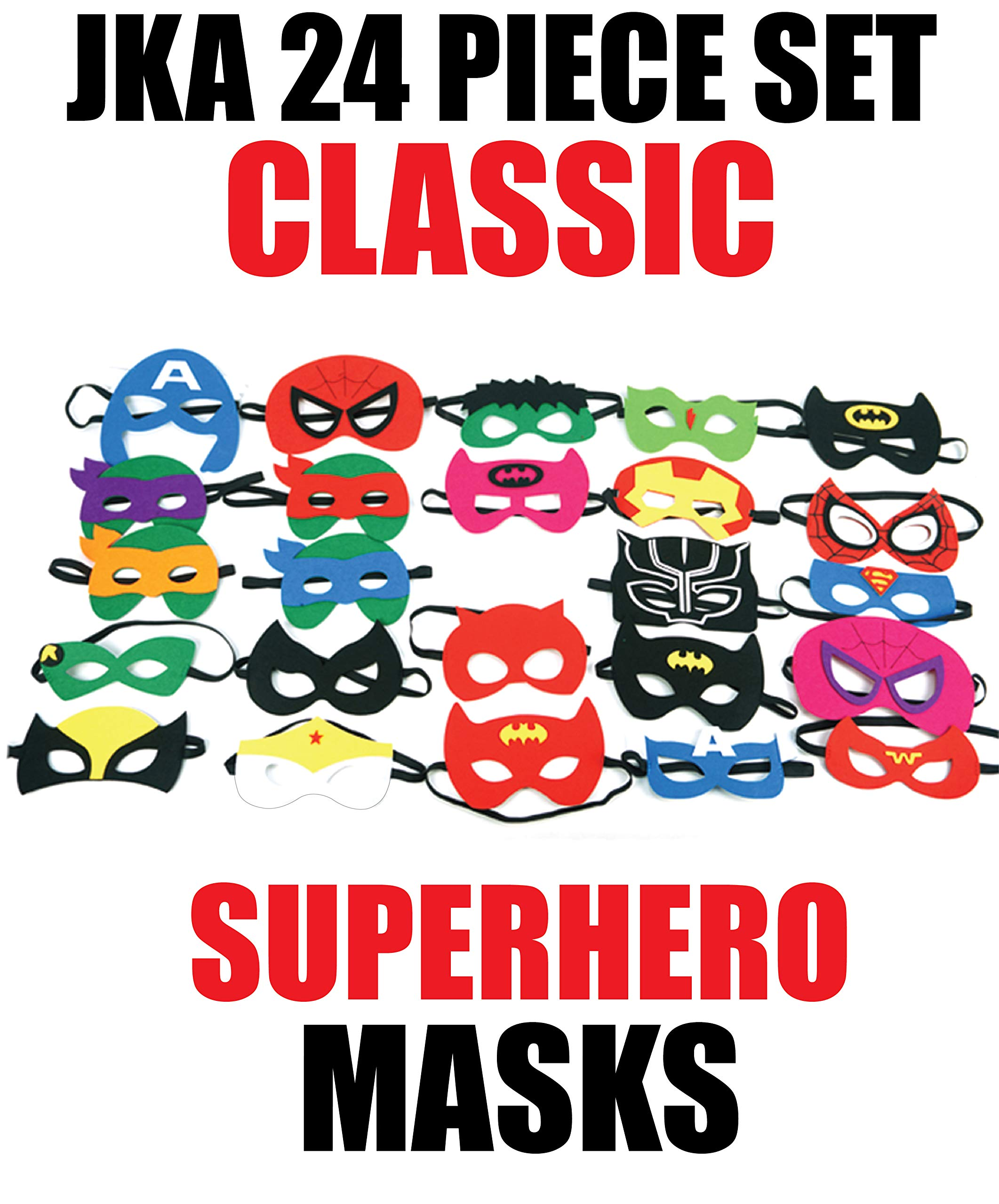 JKA 24pcs Classic Superhero Felt Masks Selection for Kids - Perfect for Birthday Parties, Halloween, Photo Booth, Party Supplies/Gifts. Children Boys and Girls Aged 3+