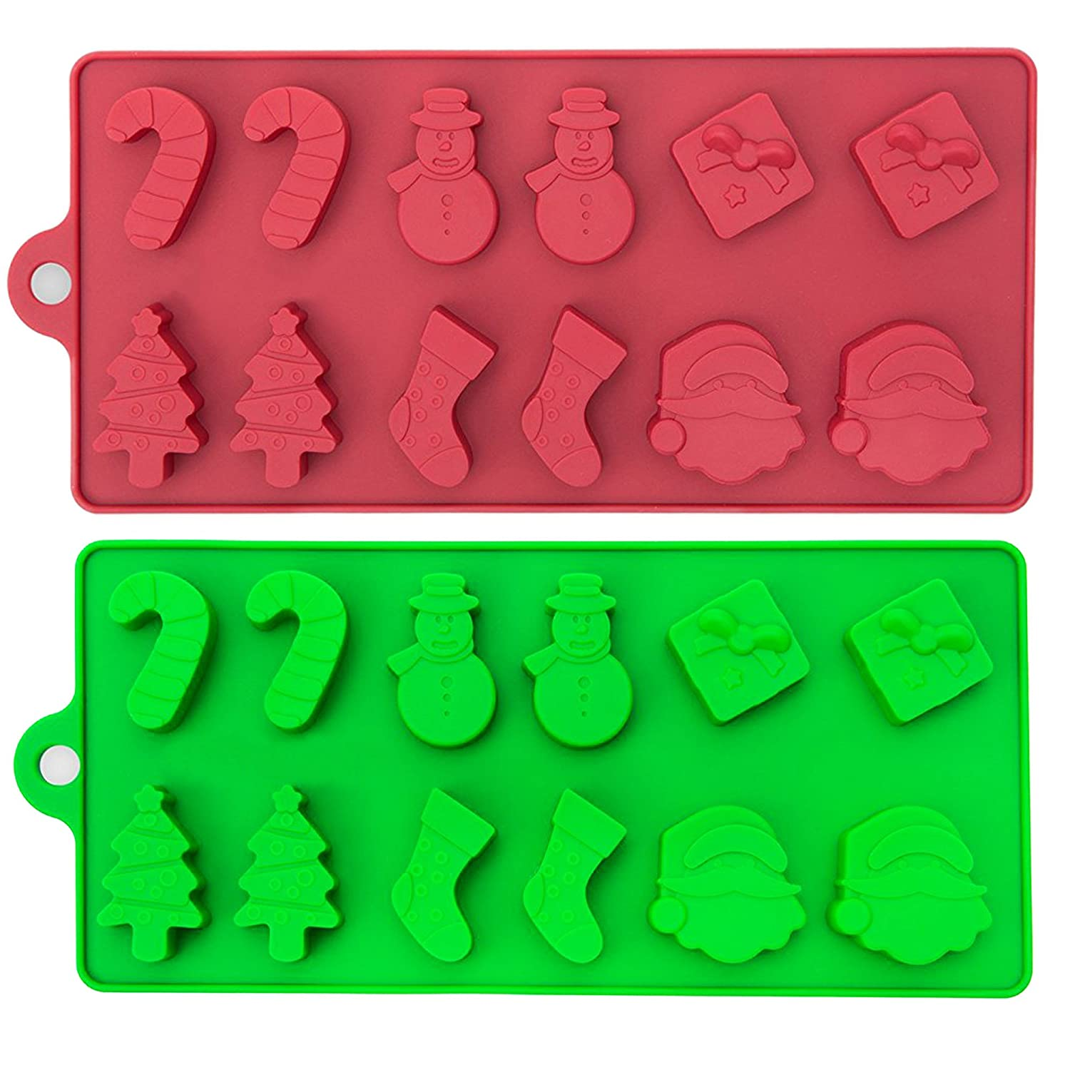 2 Pack of Novelty Festive Silicone Moulds – 6 Christmas Theme Shapes – Ideal for Making Seasonal Cakes, Chocolate, Muffins, Biscuits, Ice Cubes, Models and Candles The Twiddlers