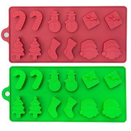 2 Moldes de Silicona para Fiesta Celebración de Navidad – Bandejas, 6 Figuras Navideñas para