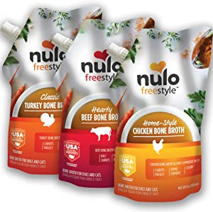 Nulo Freestyle Bone Broth for Dogs, Cats, Variety Pack - 3 x 20 fl oz Pouches - Tasty Pet Food Toppers with Turmeric - Nutritious Soup, Gravy - Premium Dog and Cat Food Toppings, Gravies & Sauces