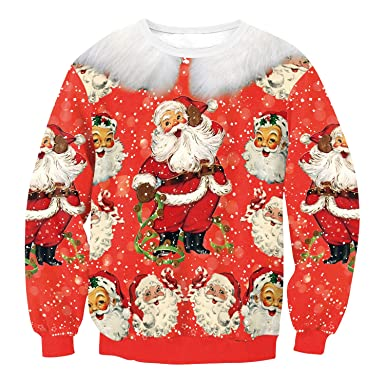 1bb0eb994e4b feifanmall Men Women Unsiex 3D Digital Printed Santa Claus Graphic Red Christmas  Pullover Sweatshirts Graphic Long
