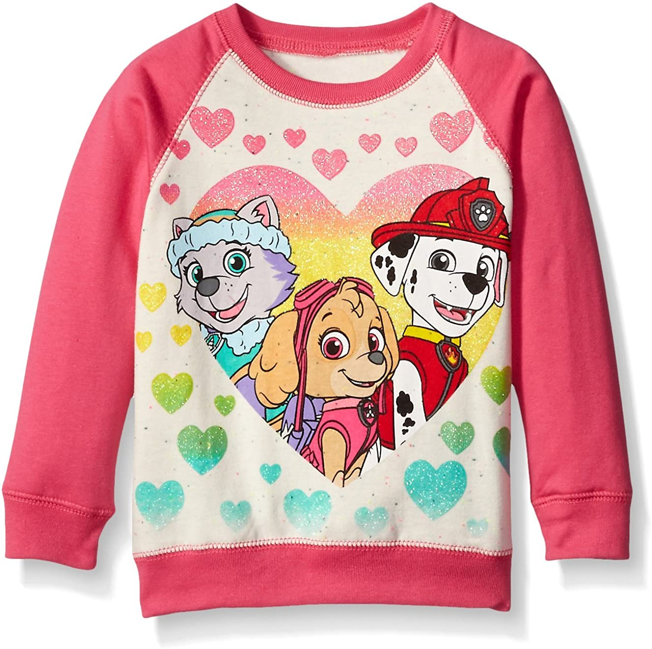 Paw Patrol Little Girls' Toddler Skye, Everest, and Marshall Hearts French Terry Sweatshirt, Cream/Pink, 3T: Clothing