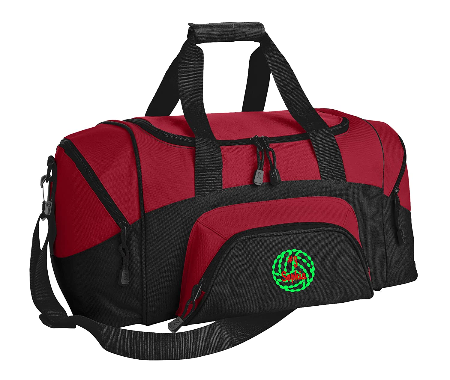 Personalized Volleyball Gym Duffel Bag with Custom Text Easy Organizing Sports Bag with Customizable Embroidered Monogram Design True Red Black