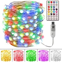 Fairy String Lights - 33Ft 100 LED Fairy Lights,16 Color Changing String Lights with Versatile Remote, USB Powered Fairy…