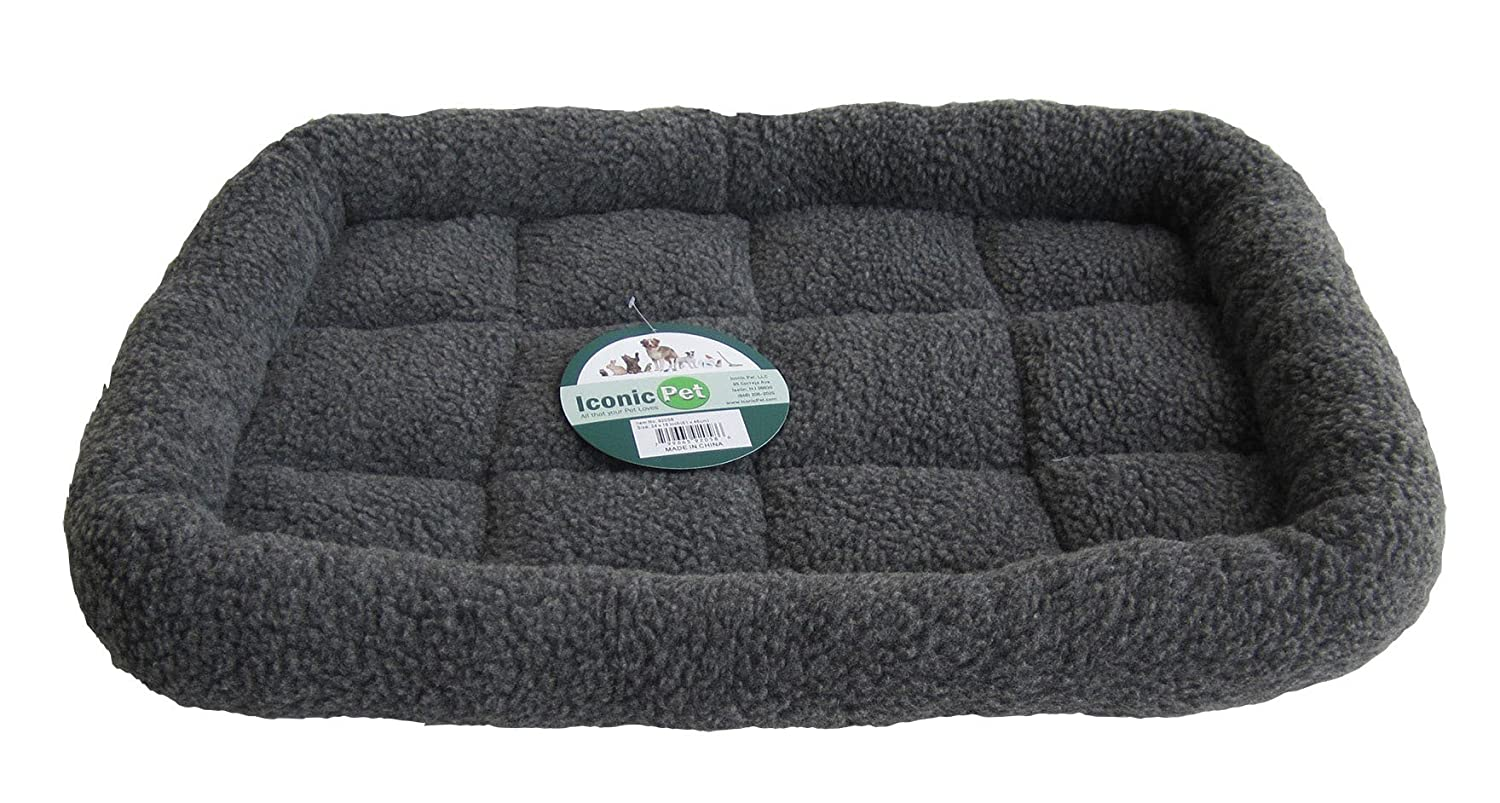 Black Small Black Small Iconic Pet Premium Synthetic Sheepskin Handy Bed, Grey, Small