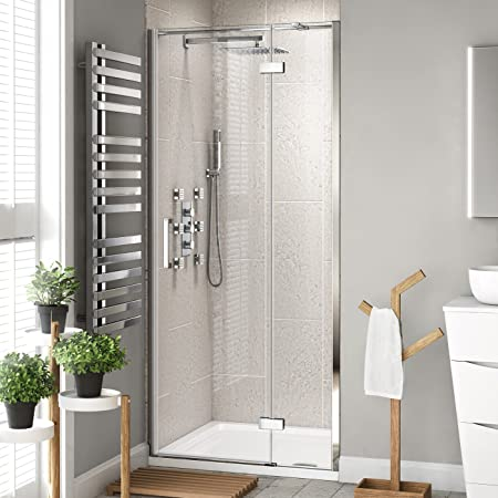 1100 Mm Modern Bathroom Hinged Easy Clean Glass Shower Cubicle Door Ibathuk Amazon Co Uk Kitchen Home