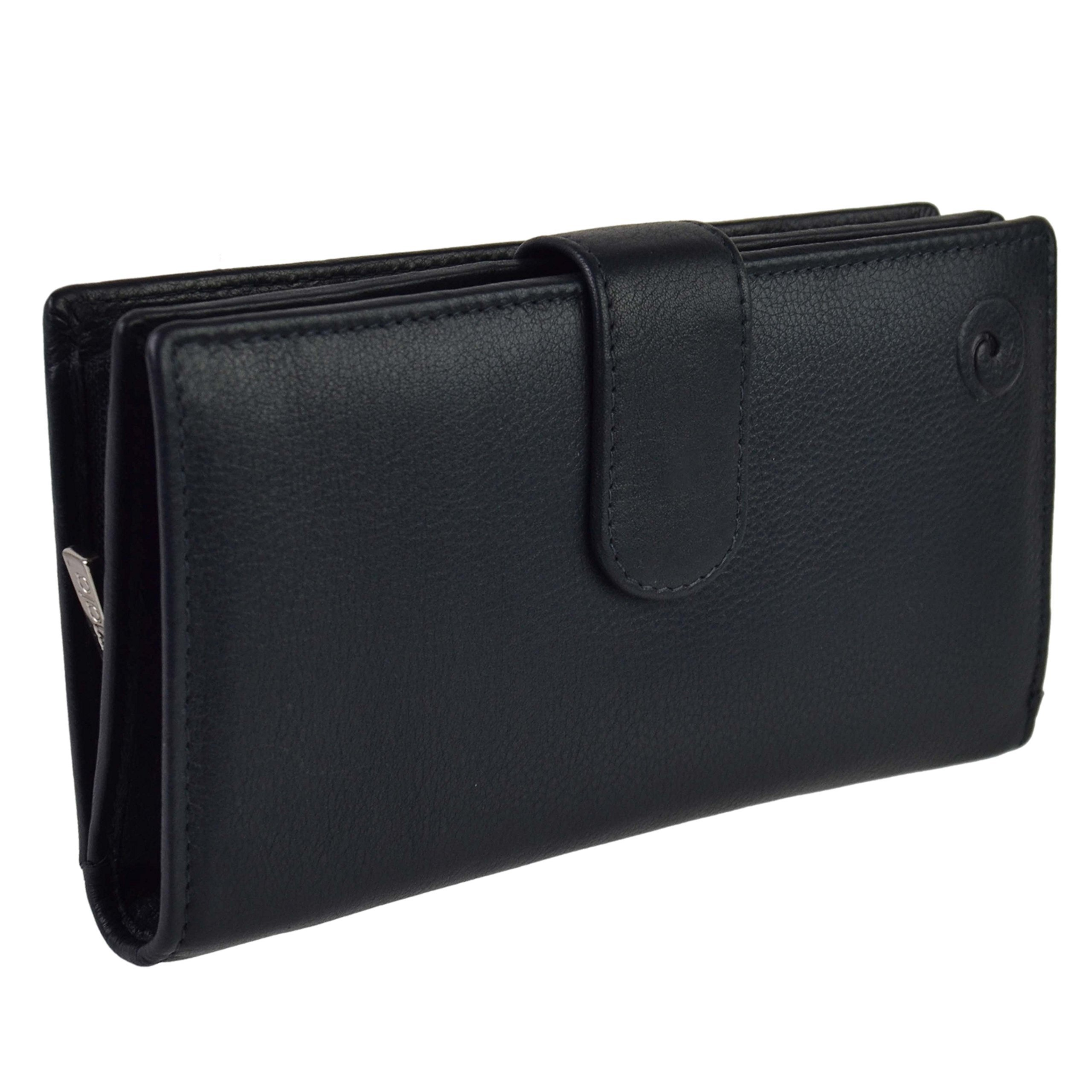 Mala Leather Women's Soft Leather Tabbed Rfid Protection Purse/Wallet Onesize Black