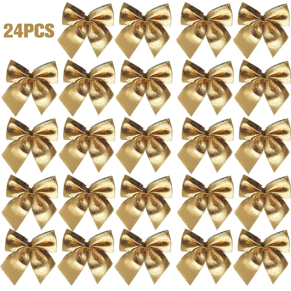 24pcs Christmas Bowknot Xmas Tree Ornament Bow Hanging Decoration Christmas Gift DIY Décor Gold Litteducking