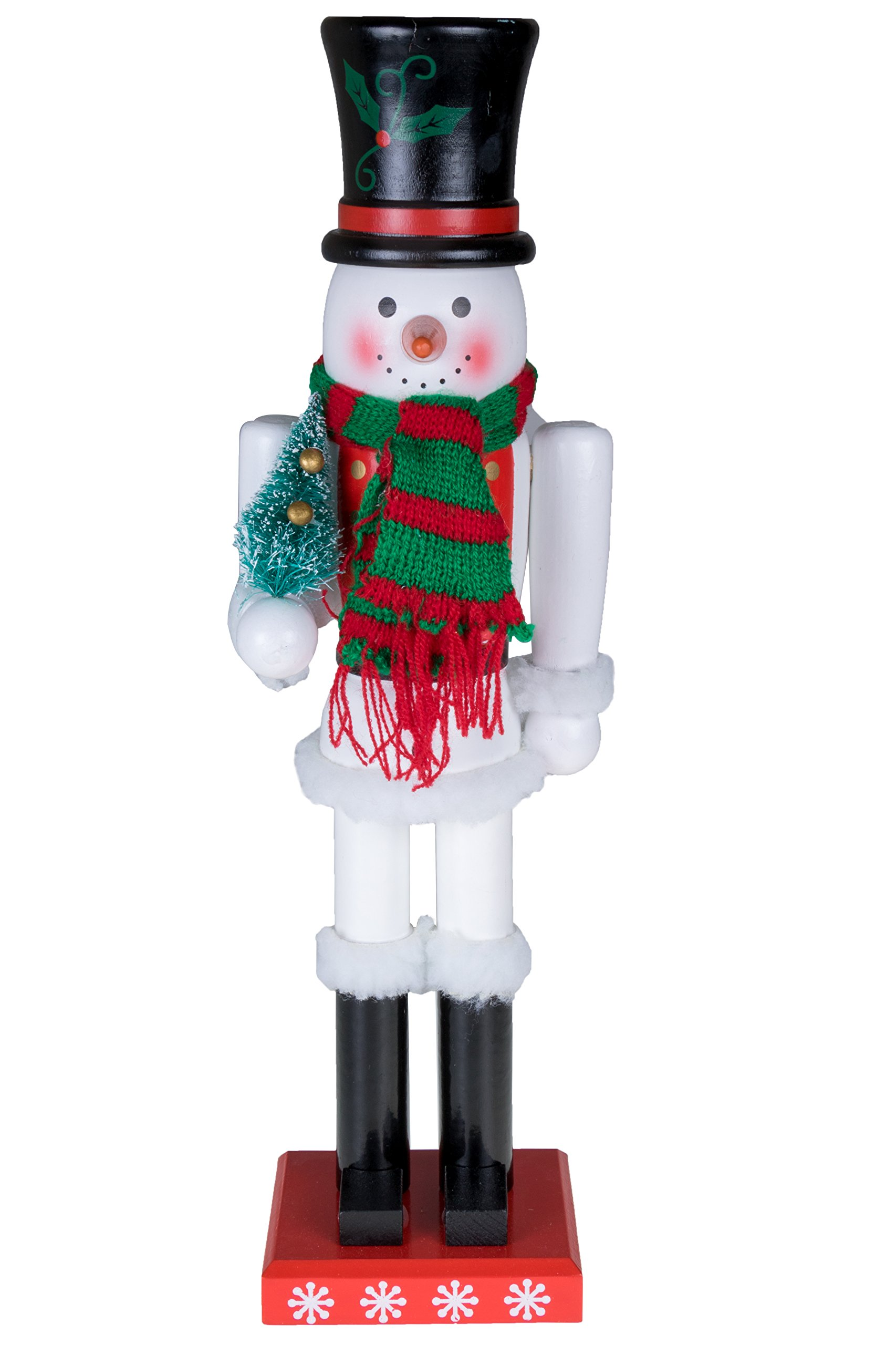 Snowman Nutcracker by Clever Creations | Black Top Hat and Red & Green Scarf with Miniature Christmas Tree | Collectible Wooden Holiday Nutcracker | Festive Holiday Decor | 100% Wood | 15'' Tall