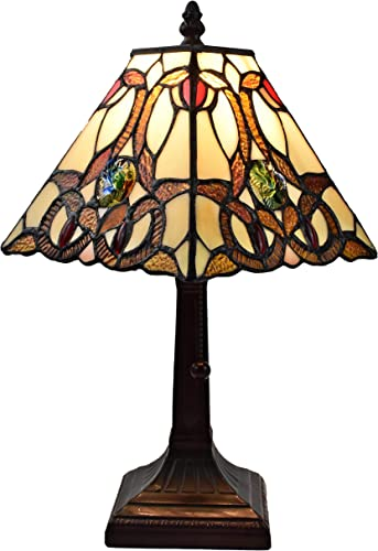 Tiffany Style Mini Accent Lamp Floral Mission 16 Tall Stained GlassBrown Red Vintage Antique Light D cor Night Stand Living Room Bedroom Handmade Gift AM338TL08 Amora Lighting, Multicolor