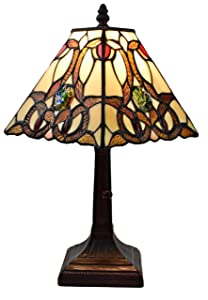 """Tiffany Style Mini Accent Lamp Floral Mission 16"""" Tall Stained GlassBrown Red Vintage Antique Light Décor Night Stand Living Room Bedroom Handmade Gift AM338TL08 Amora Lighting"""