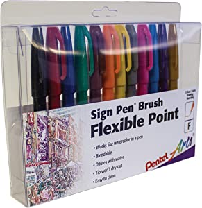 Pentel Arts Sign Pen Touch, Fude Brush Tip, 12 Assorted Colors in Marker Stand (SES15CPC12)